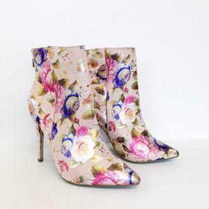 Anne Michelle Blush Floral Metallic Booties